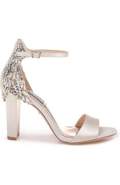 Badgley Mischka Seina Ankle Strap Sandal (Women) Nordstrom is part of Groom shoes - Low Heel Shoes, Women's Shoes, Me Too Shoes, Wedding Shoes Bride, Bride Shoes, Wedding Shoes For Bridesmaids, Wedge Wedding Shoes, Wedding Makeup, Nordstrom Wedding Dresses