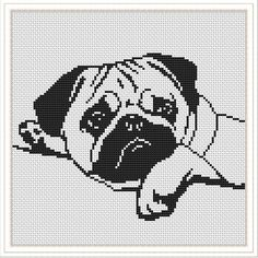 Modern cross stitch pattern Dog Pug cross stitch pattern Easy Beginner Animals xstitch chart PDF I Cross Stitch Quotes, Cross Stitch Bookmarks, Cross Stitch Borders, Cross Stitch Alphabet, Cross Stitch Animals, Modern Cross Stitch Patterns, Cross Stitch Charts, Counted Cross Stitch Patterns, Cross Stitch Designs