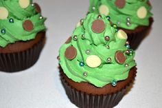 Christmas Tree Chocolate Cupcakes