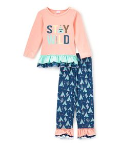 Love this Little Miss Fairytale Pink & Blue 'Stay Wild' Top & Leggings - Infant, Toddler & Girls by Little Miss Fairytale on #zulily! #zulilyfinds