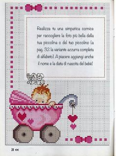 - Pink Stroller - Ideas of Pink Stroller - Xmas Cross Stitch, Cross Stitch Baby, Cross Stitch Charts, Cross Stitching, Cross Stitch Embroidery, Baby Cross Stitch Patterns, Hand Embroidery Patterns, Cross Stitch Designs, Baby Patterns
