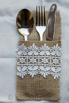 Items similar to Burlap / Hessian & Lace Cutlery Holder Set of Four - Perfect Home or Wedding Decoration on Etsy Burlap Projects, Burlap Crafts, Diy And Crafts, Craft Projects, Sewing Projects, Arts And Crafts, Burlap Lace, Hessian, Cutlery Holder
