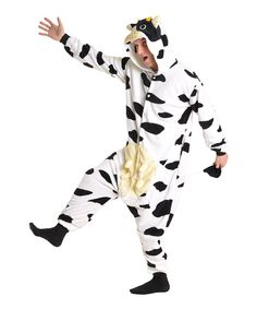 Look at this Black & White Cow Cow Footie Pajamas - Women on #zulily today!