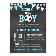 Impress your guests with these lovely It's a Boy Soccer theme baby shower invitations. Baby blue , white on chalkboard background. Perfect for that boy baby shower. Add your information. Baby Shower Niño, Shower Bebe, Baby Shower Parties, Baby Shower Themes, Shower Ideas, Shower Party, Shower Gifts, Bridal Shower, Baby Boy Soccer