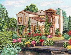 Скачать Вышивка «Загородный дом» бесплатно. А также другие схемы вышивок в разделах: , Домики, Другие, Лето, Сельский пейзаж