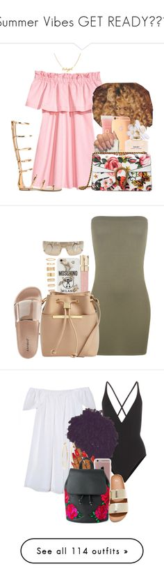 """""""Summer Vibes GET READY🙌😎😎"""" by melaninprincess-16 ❤ liked on Polyvore featuring Goldgenie, Lancôme, Marc Jacobs, Gucci, Giuseppe Zanotti, Roberto Cavalli, WearAll, Forever 21, Smith & Cult and Moschino"""
