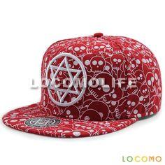 Skull Star Of David Embroidered Baseball Cap Red