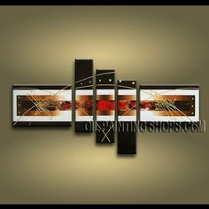Enchant Modern Abstract Painting Artist Oil Painting Stretched Ready To Hang Abstract. This 5 panels canvas wall art is hand painted by A.Qiang, instock - $178. To see more, visit OilPaintingShops.com