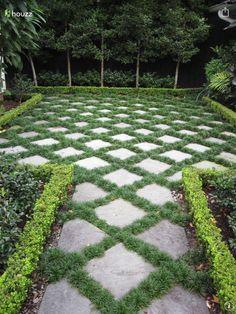 Pavers and Mondo Grass - Steingarten - Garden Floor Magic Garden, Garden Paths, Garden Grass, Garden Bridge, Boxwood Garden, Sun Garden, Water Garden, Shade Garden, Garden Beds