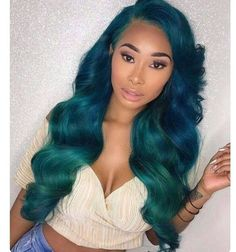 Blue And Green Ombre Haircolor