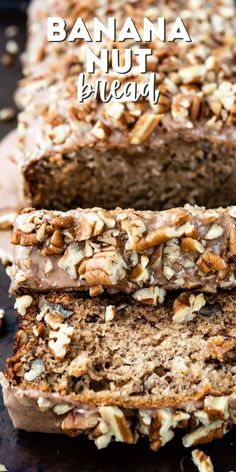 Banana Nut Bread is the BEST! This easy moist banana bread recipe is full of pecans and has a cinnamon glaze. It can even be made into muffins and it's better than Starbucks!