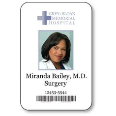 MIRANDA BAILEY, Doctor on Greys Anatomy T V Show Magnetic Fastener Name Badge Halloween Costume Prop Miranda Bailey, Halloween Costume Props, Halloween Cosplay, Id Card Template, Card Templates, Greys Anatomy Costumes, Hospital Memorial, Red Band Society, Dreams