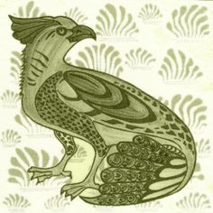 William De Morgan: Fantastic Animal - Ornate Bird. Available in red, green and blue