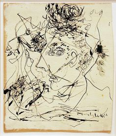 Jackson Pollock, self-portrait,.,.,Not sure why this makes me think of Salvadore Dali.....hmmm...reminds me of one of his etchings. dgp.