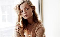Download wallpapers Magdalena Frackowiak, Polish model, portrait, blonde, beautiful woman, Polish celebrities, beige sweater