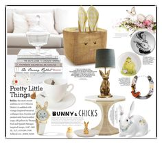 """""""Chick bunnies and chicks"""" by captainsilly ❤ liked on Polyvore featuring interior, interiors, interior design, home, home decor, interior decorating, Outlandish Creations, Fitz and Floyd, Sur La Table and Pier 1 Imports"""