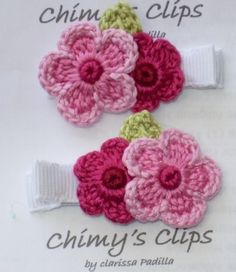 flower crochet clips