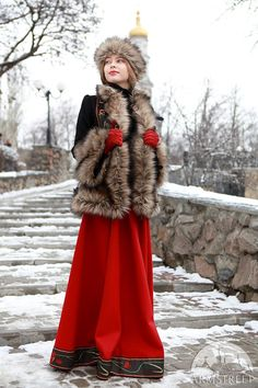 """Cold-weather short coat bordered with fake fur. Exclusive version of Russian-style """"Jupan"""" short coat with original trimming Costume Russe, Mode Russe, Wool Coat, Fur Coat, Folk Costume, Costumes, Style Russe, Long Wool Skirt, Russian Winter"""