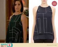 Marisol's black geometric print split-back top on Devious Maids.  Outfit Details: http://wornontv.net/31523/ #DeviousMaids