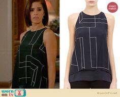 Marisol's black geometric print split-back top on Devious Maids.  Outfit Details: http://wornontv.net/31523/ #DeviousMaids