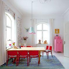 Un bureau vraiment cosy, salle à manger, dining room, décoration colorée