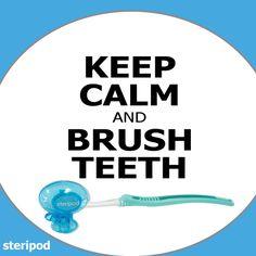 KEEP CALM & BRUSH TEETH, don't forget to clip-on your pod after.  #getsteripod #steripod #hygiene #toothbrush #protector #clipon #bathroom #travel #dormroom #walmart #bedbathandbeyond