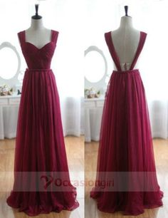 2016 long prom dresses, burgundy backless prom dress, legant Straps A-line Long Burgundy Prom Dress/Evening Gown, only $84.99 in occasiongirl.com
