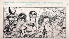 X-Men #1 first Promotional Pin Up art and Wizard #1 back Cover (1992) by Jim Lee and Scott Williams