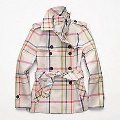 Coach Short Tattersall Trench - I wouldn't mind being caught in the cold if I was wearing this stylish trench coat!!