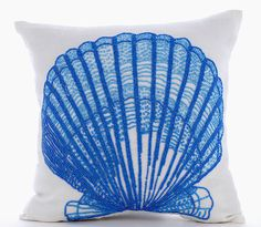 Oyster Bay - 16x16 blue Bead hand embroidered white linen throw pillow.