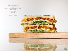 Grilled Cheese w/ Spicy Tomato-Onion Jam, Arugula, Avocado, Bacon, and ...
