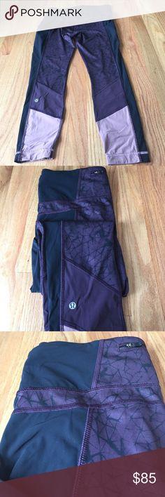Lululemon burgundy print running leggings Lightly worn running leggings with burgundy and black detail. Super comfortable and have pockets. lululemon athletica Pants Leggings