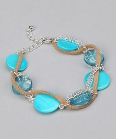 Take a look at this Turquoise Lucite Shell Bracelet by Majestic on #zulily today!