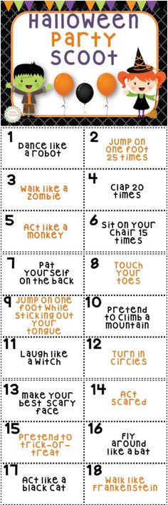 halloween party scoot game 30 cards - Preschool Halloween Bingo