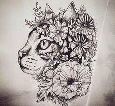 Gatto con fiore