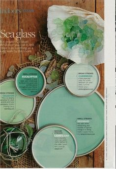 Sea glass inspired paint colors...with some sea glass decorations maybe. #BathroomPaint