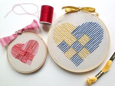 woven heart hand embroidery pattern by hooptdo on Etsy, $2.00
