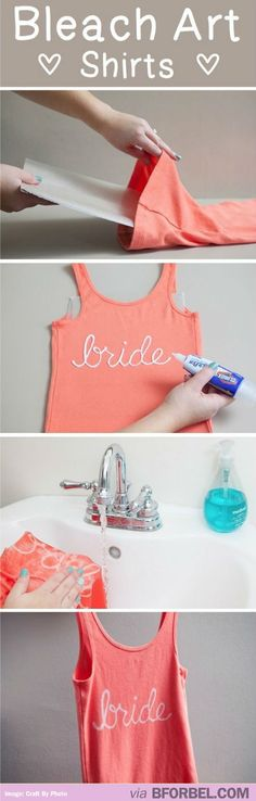 How To: Bleach Art Shirts… now I can do something with my favorite bleach stained clothes!