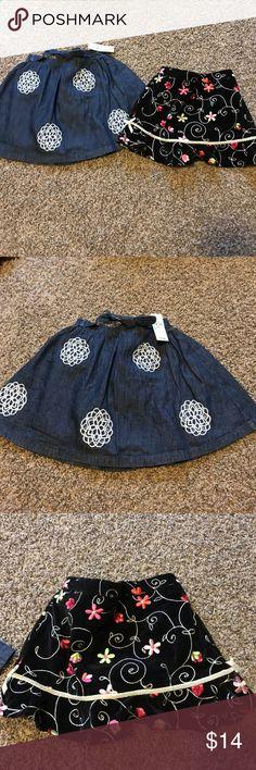 Girls skirts Excellent condition, denim skirt nwt, black velvet skort Children's Place Bottoms Skirts