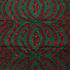 African Fabric, Green and red Ankara Print- African Print, African Wax Print, Ankara by the yard