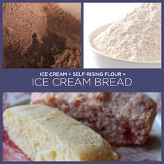"Ice-Cream Bread    1 pt. (2 cups) ice cream, softened  1-1/2 cups self-rising flour  Preheat oven to 350 degrees. Stir together ice cream and flour, stirring just until flour is moistened. Spoon batter into a greased and floured 8""x4"" loaf pan. Bake at 350 degrees for 40 to 45 minutes or until a wooden pick inserted in center of bread comes out clean. Remove from pan, and cool on a wire rack."