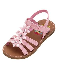 Charming flower accents delight tiny eyes, while this sandal's adjustable strap ensures custom comfort. Kid Shoes, Girls Shoes, Baby Shoes, Huarache, Childrens Shoes, Kids Wear, Pink Flowers, Topaz, Elsa