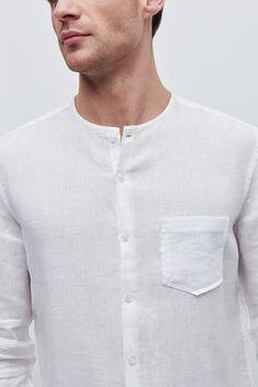 Camisa de lino con cuello caja | Adolfo Dominguez shop online
