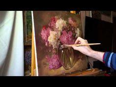 """""""Пионы в стеклянной вазе"""". Олег Буйко. Process of creating oil painting. - YouTube"""