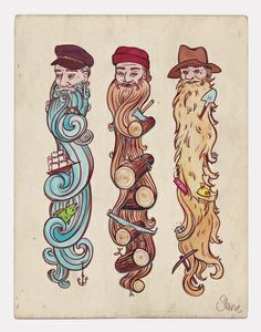 Working Man's Beard Art Print (would love the one on the left as a tattoo)