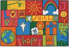 With a cheerful spiritual message, the Patchwork Value Line Rug brings Joy, Faith, Love and Hope into any classroom. Gentle and playful animals come together with a smile. #sensoryedge #valueline http://www.sensoryedge.com/inspirational-patchwork-value-line-rug.html