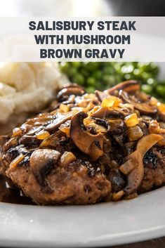 Salisbury Steak With Mushroom Brown Gravy Recipe Appetizers For A Crowd, Appetizer Recipes, Dinner Recipes, Beef Recipes, Cooking Recipes, Hamburger Recipes, Brown Gravy Recipe, Vegetarian Meal Prep, Starbucks Recipes