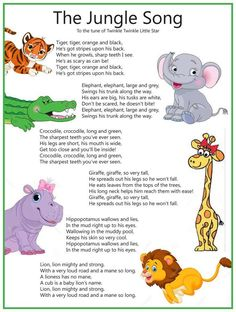 Classroom songs - I absolutely LOVE this and I dare you to start singing the verse with the hippopotamus without thinking about it! Kindergarten Songs, Preschool Music, Preschool Learning, Toddler Learning, Teaching, Preschool Jungle, Preschool Classroom, Home School Preschool, Kids Music