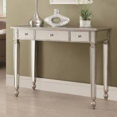 Coaster Furniture 950014 Contemporary Mirrored Sofa Table in Antique Silver