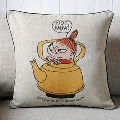 Little My of Moomin Valley In Pot Print Cushions Covers Linen Cushion Covers Printed Cushions, Cushions On Sofa, Pillows, Super Cool Stuff, Moomin Valley, Tove Jansson, Comic, Little My, Cushion Covers